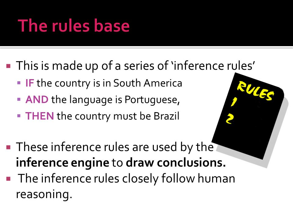 The rules base This is made up of a series of 'inference rules'