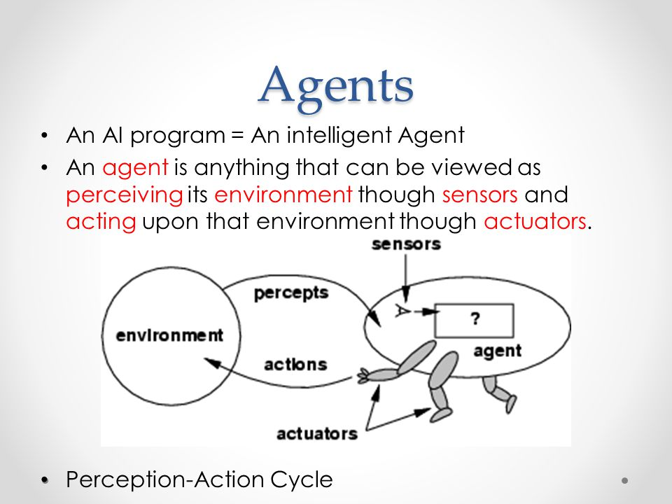 Agents An AI program = An intelligent Agent