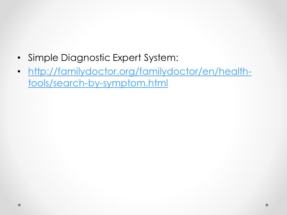 Simple Diagnostic Expert System: