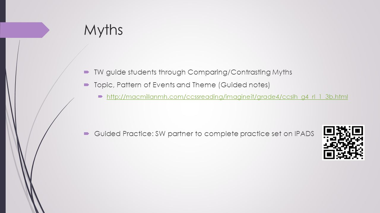 Myths TW guide students through Comparing/Contrasting Myths
