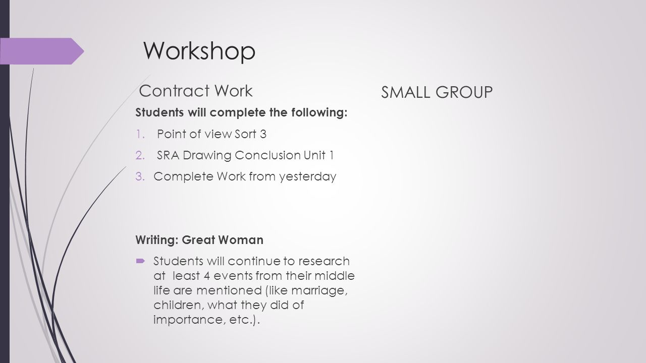 Workshop Contract Work SMALL GROUP