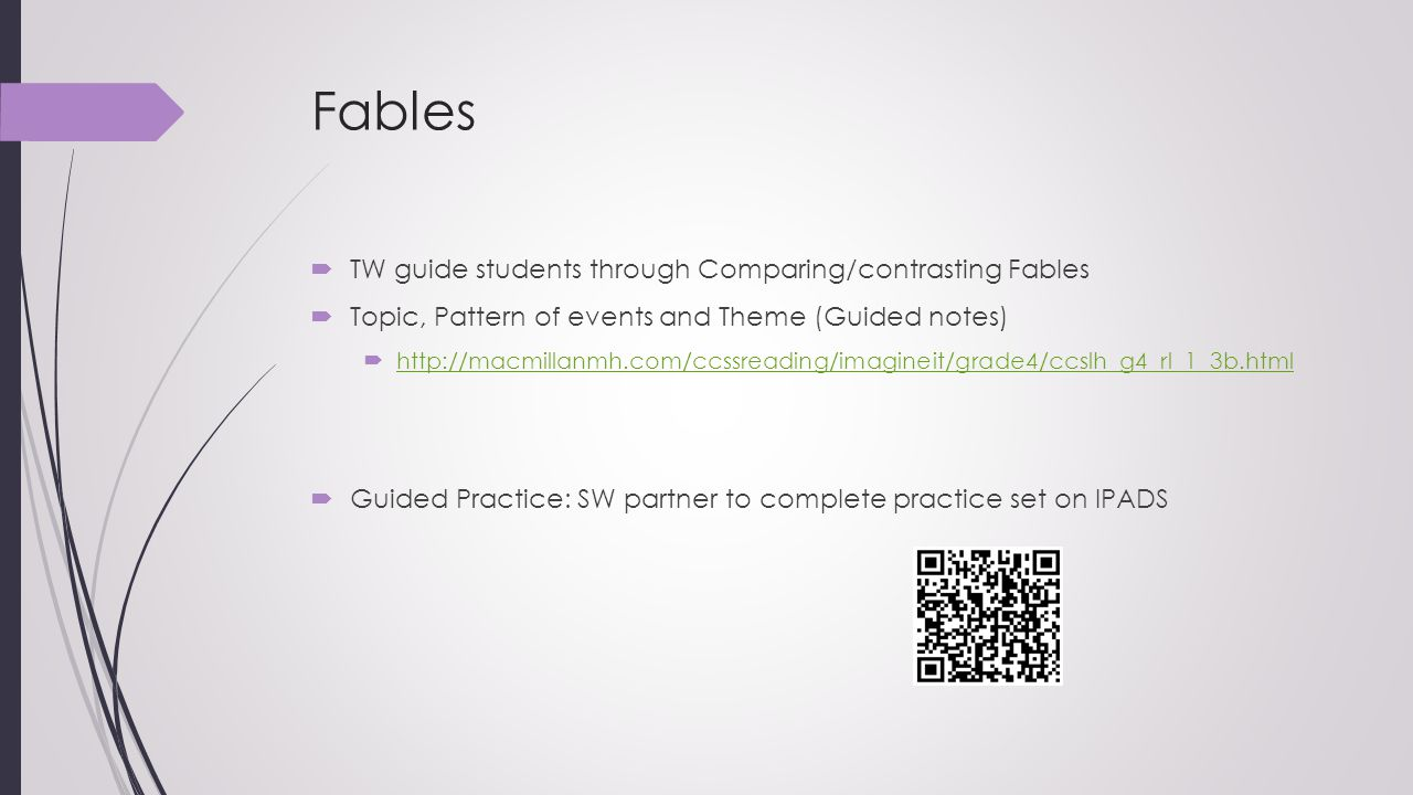 Fables TW guide students through Comparing/contrasting Fables