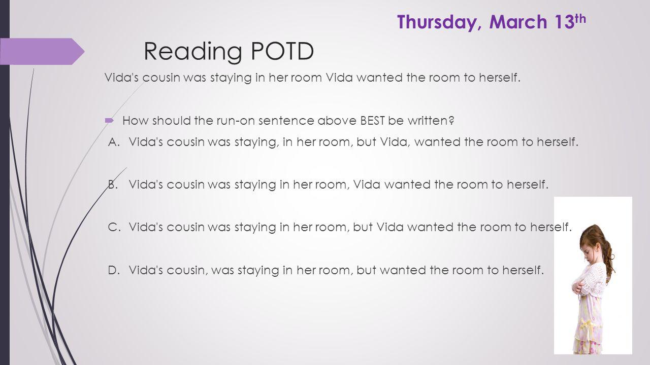 Reading POTD Thursday, March 13th