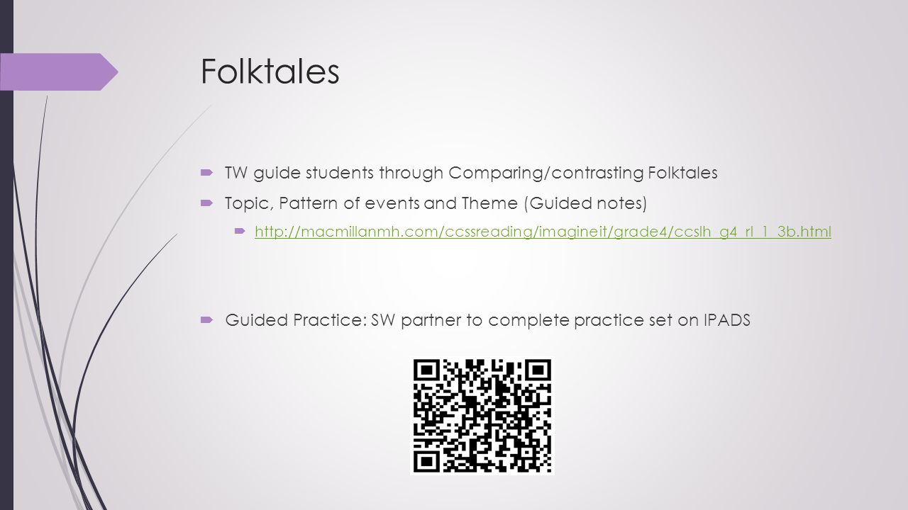Folktales TW guide students through Comparing/contrasting Folktales
