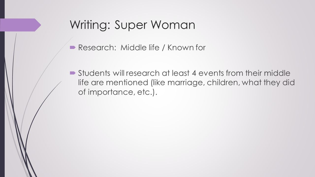 Writing: Super Woman Research: Middle life / Known for