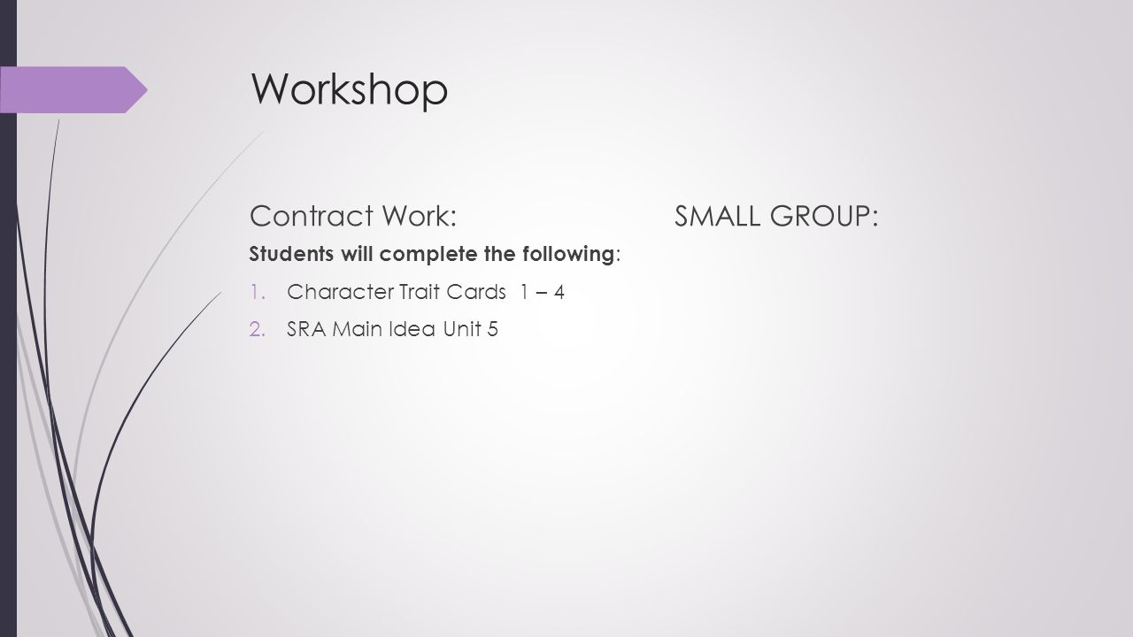 Workshop Contract Work: SMALL GROUP: