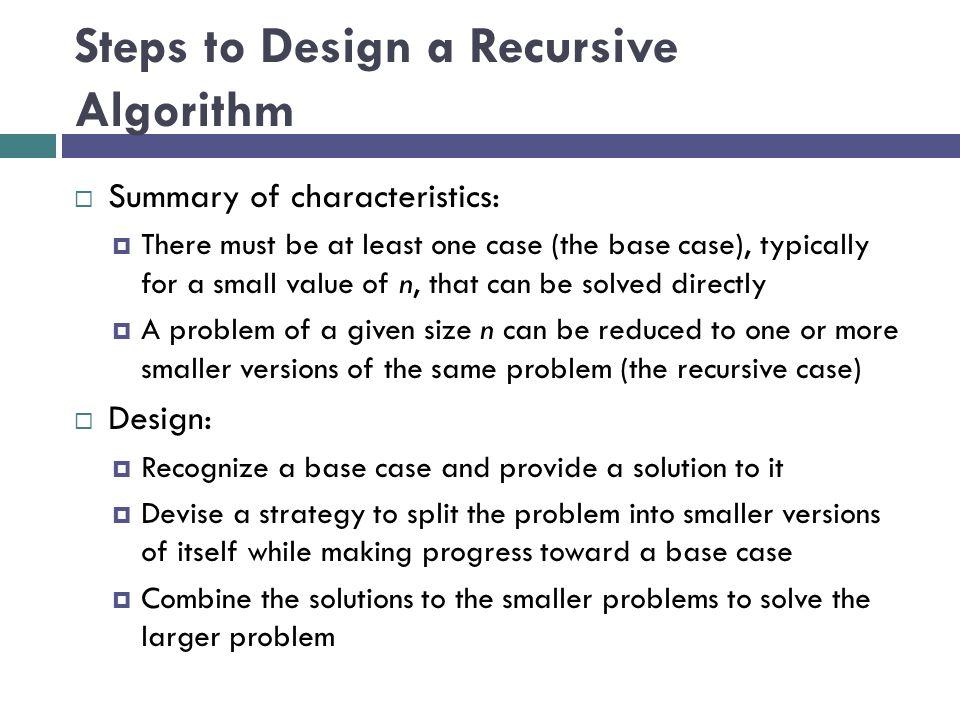 Steps to Design a Recursive Algorithm