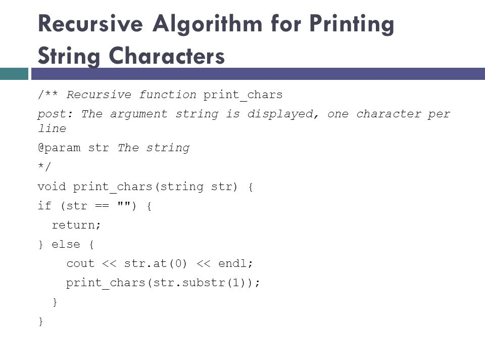 Recursive Algorithm for Printing String Characters