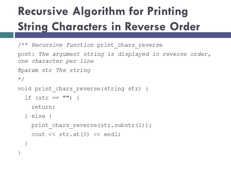 Recursive Algorithm for Printing String Characters in Reverse Order