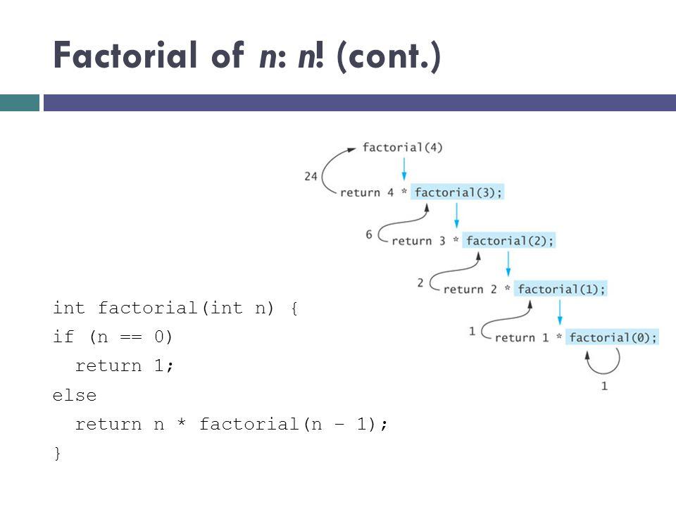 Factorial of n: n! (cont.)