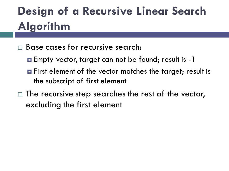 Design of a Recursive Linear Search Algorithm