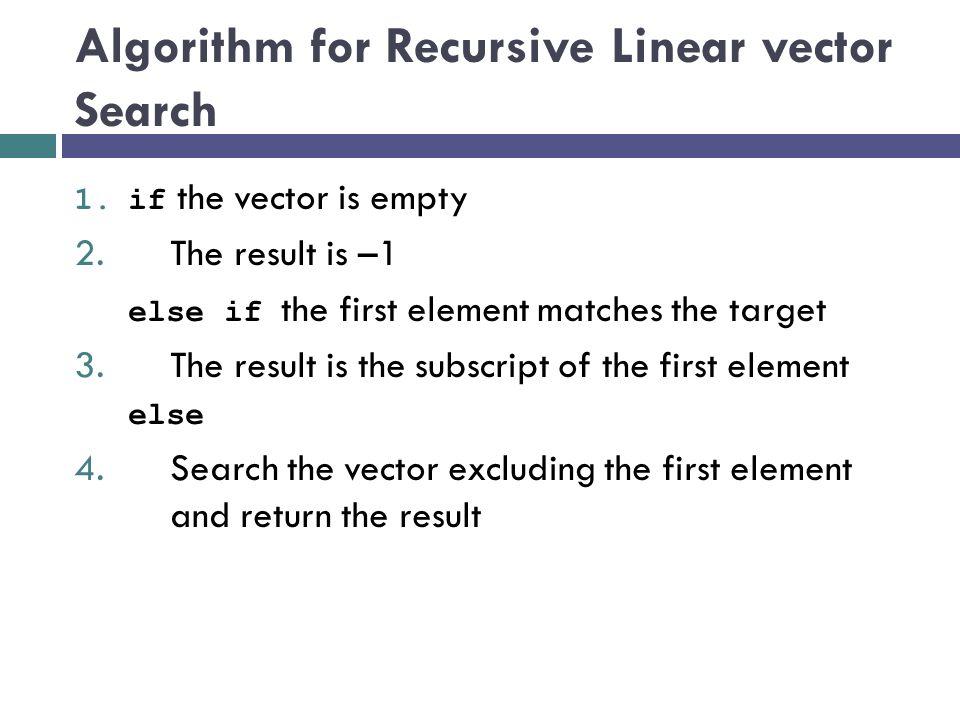 Algorithm for Recursive Linear vector Search