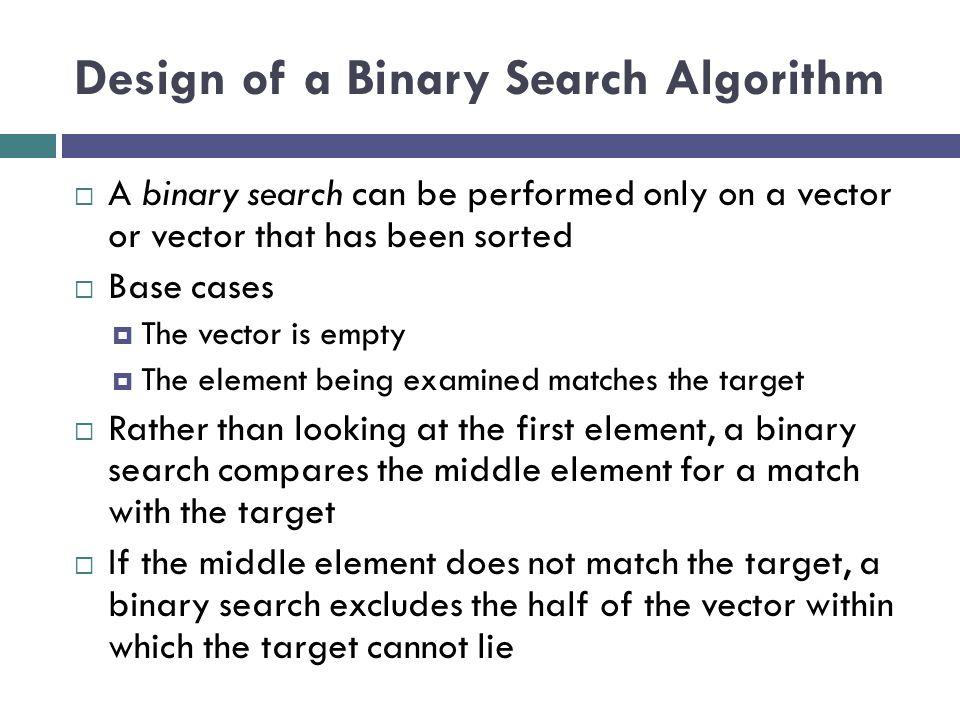 Design of a Binary Search Algorithm