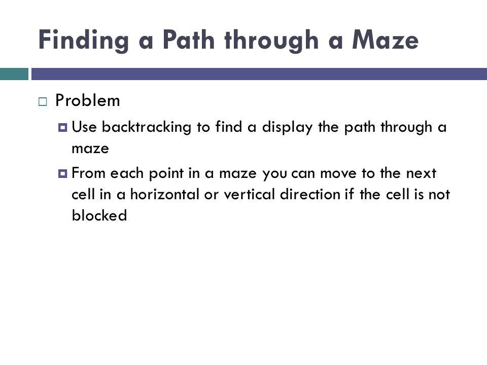 Finding a Path through a Maze