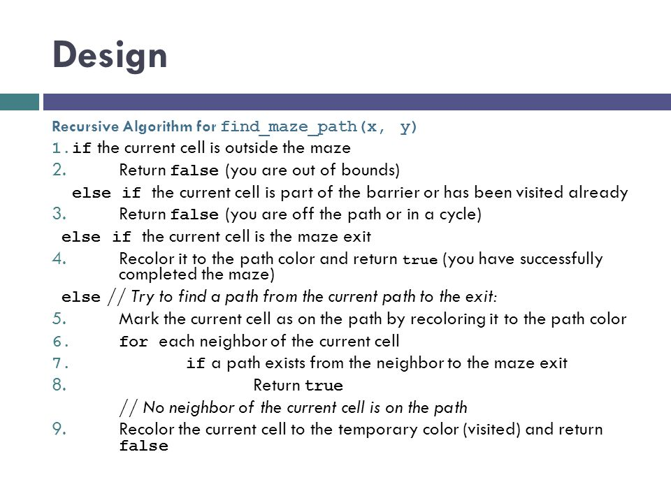 Design Return false (you are out of bounds)