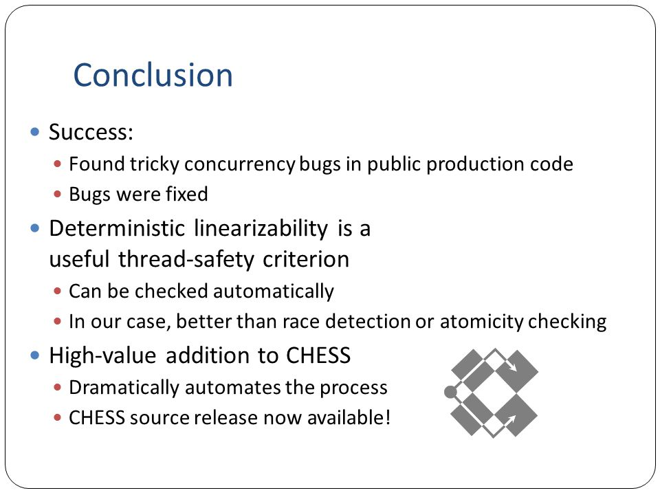 Conclusion Success: Found tricky concurrency bugs in public production code. Bugs were fixed.