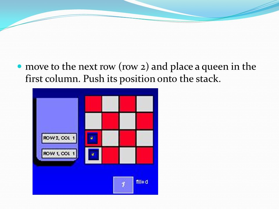 move to the next row (row 2) and place a queen in the first column