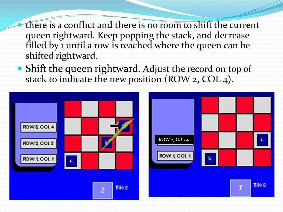 there is a conflict and there is no room to shift the current queen rightward. Keep popping the stack, and decrease filled by 1 until a row is reached where the queen can be shifted rightward.