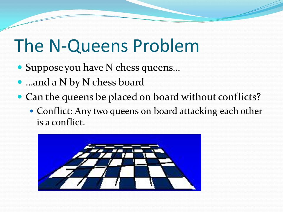 The N-Queens Problem Suppose you have N chess queens…