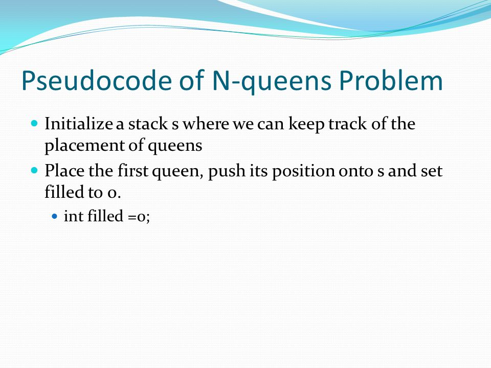 Pseudocode of N-queens Problem