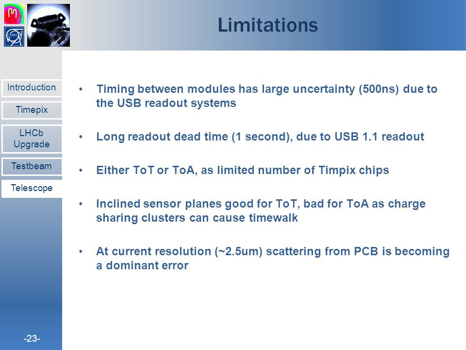 Limitations Timing between modules has large uncertainty (500ns) due to the USB readout systems.