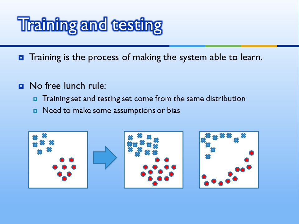 Training and testing Training is the process of making the system able to learn. No free lunch rule: