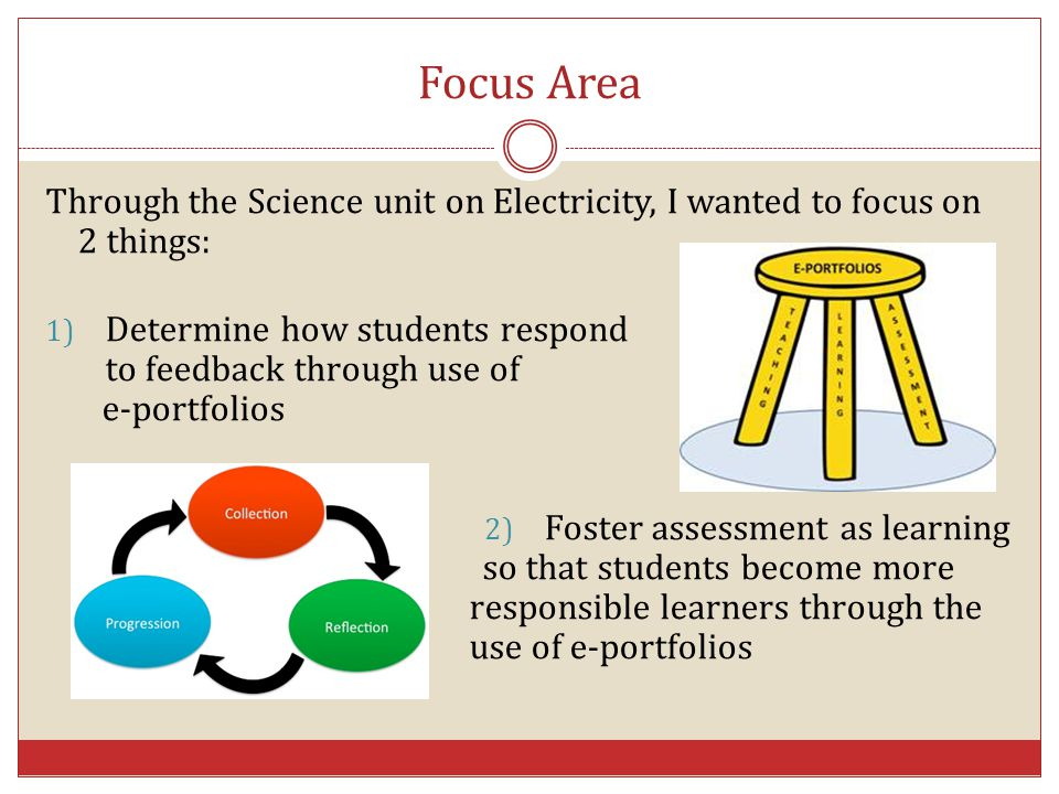 Focus Area Through the Science unit on Electricity, I wanted to focus on 2 things: Determine how students respond.