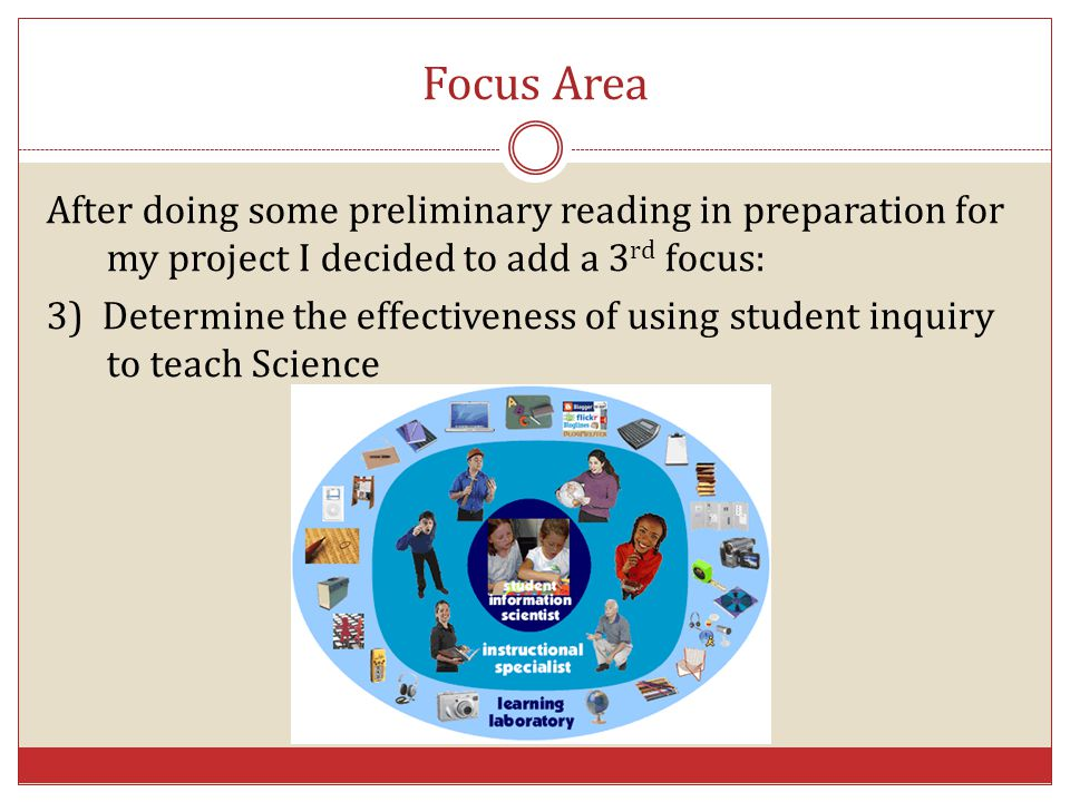 Focus Area After doing some preliminary reading in preparation for my project I decided to add a 3rd focus: