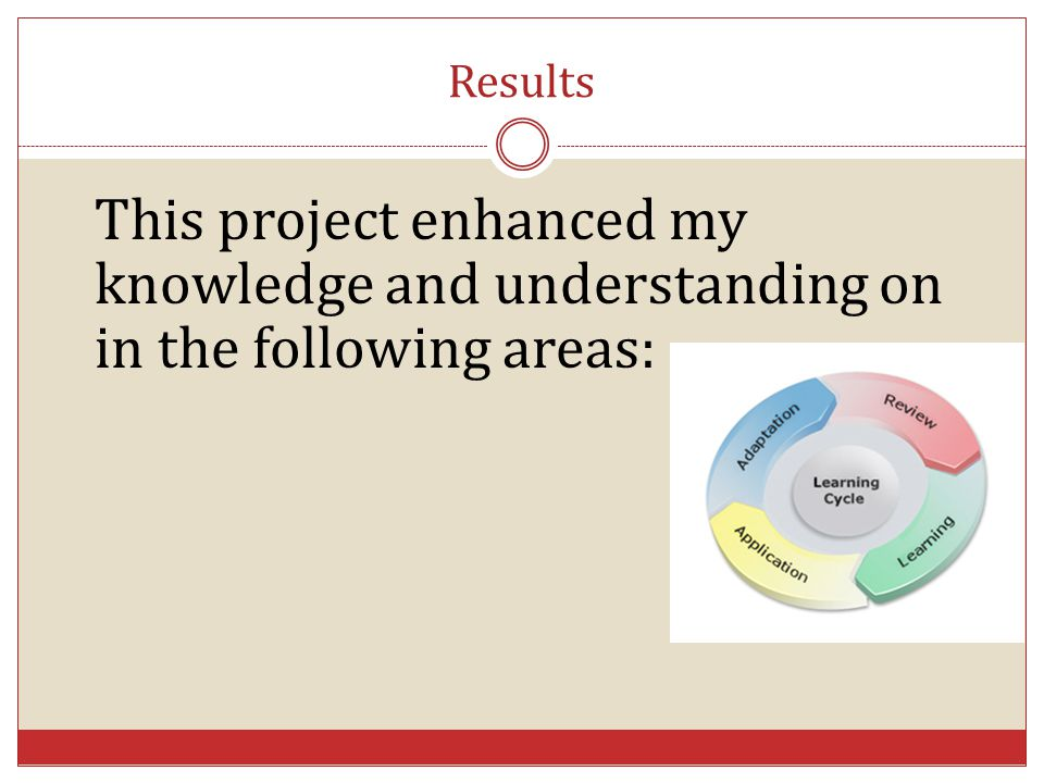 Results This project enhanced my knowledge and understanding on in the following areas:
