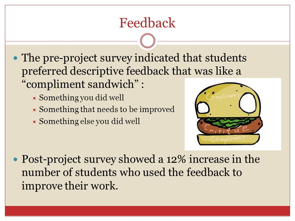 Feedback The pre-project survey indicated that students preferred descriptive feedback that was like a compliment sandwich :