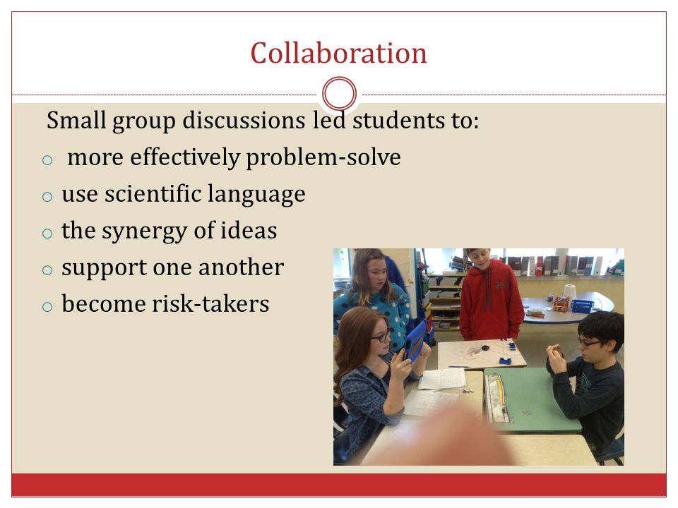 Collaboration Small group discussions led students to: