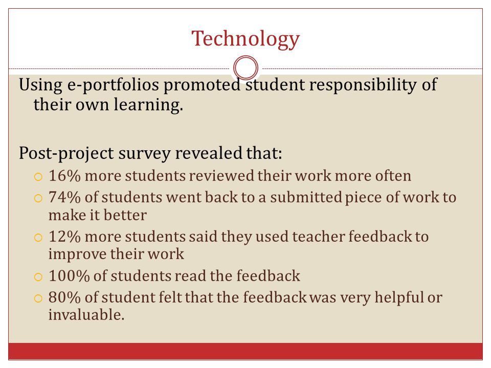 Technology Using e-portfolios promoted student responsibility of their own learning. Post-project survey revealed that: