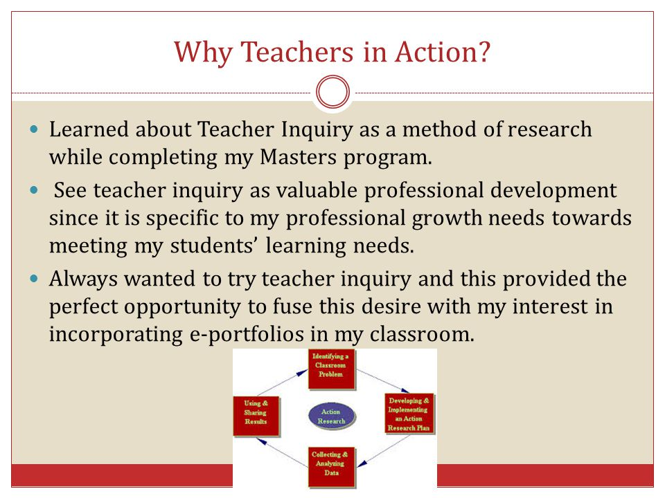 Why Teachers in Action Learned about Teacher Inquiry as a method of research while completing my Masters program.