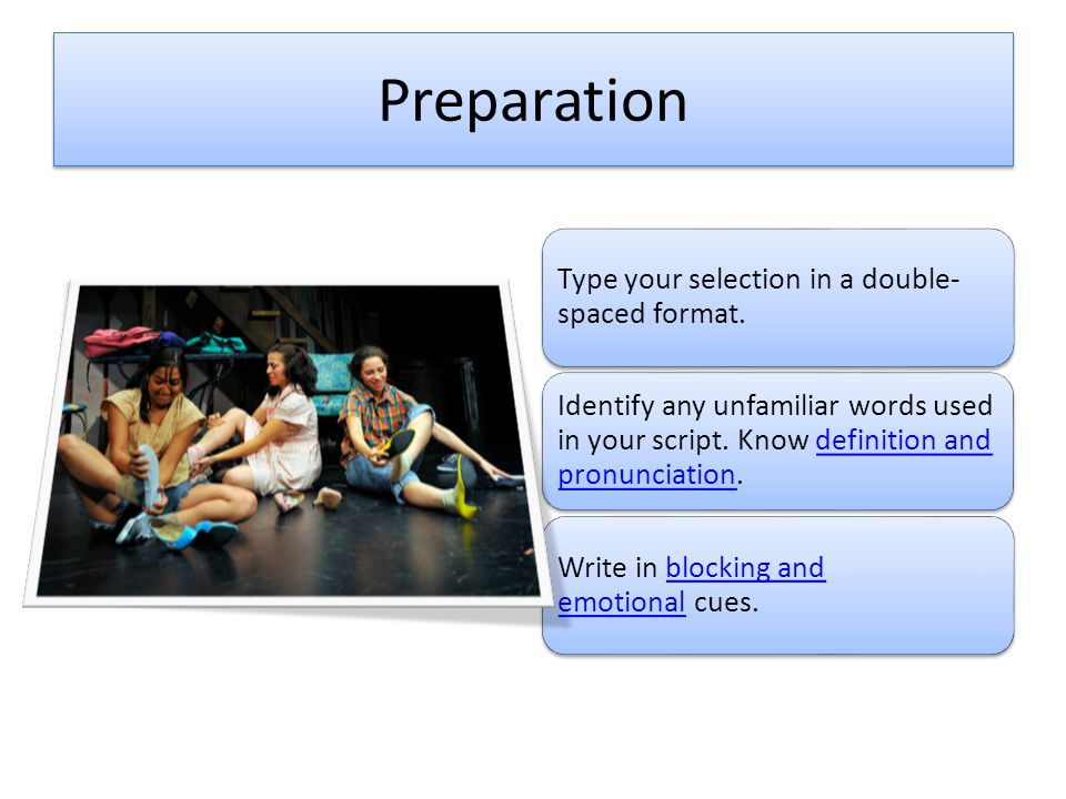 Preparation Type your selection in a double-spaced format.