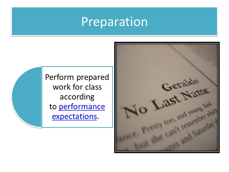 Perform prepared work for class according to performance expectations.