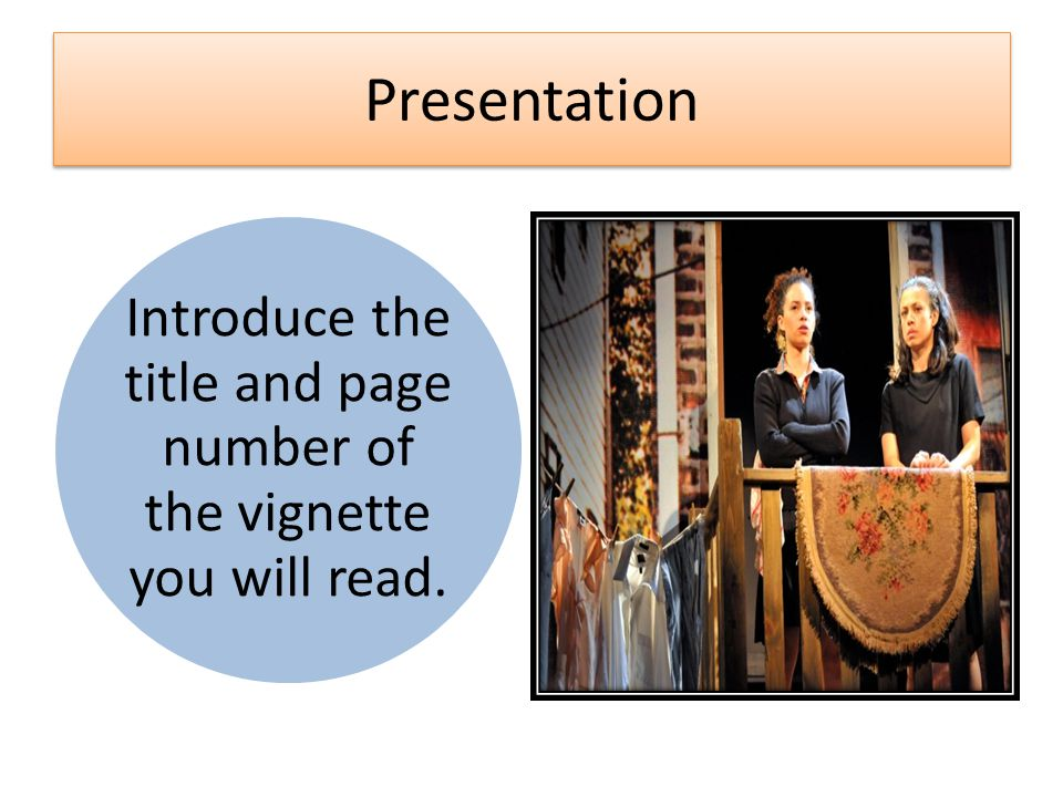 Introduce the title and page number of the vignette you will read.