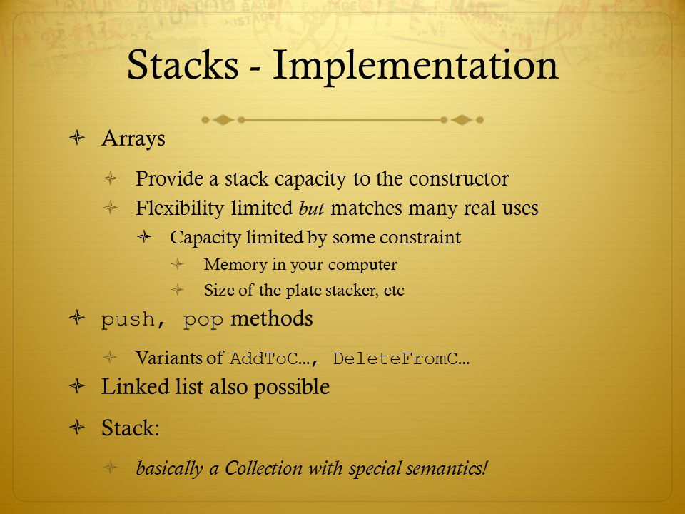 Stacks - Implementation