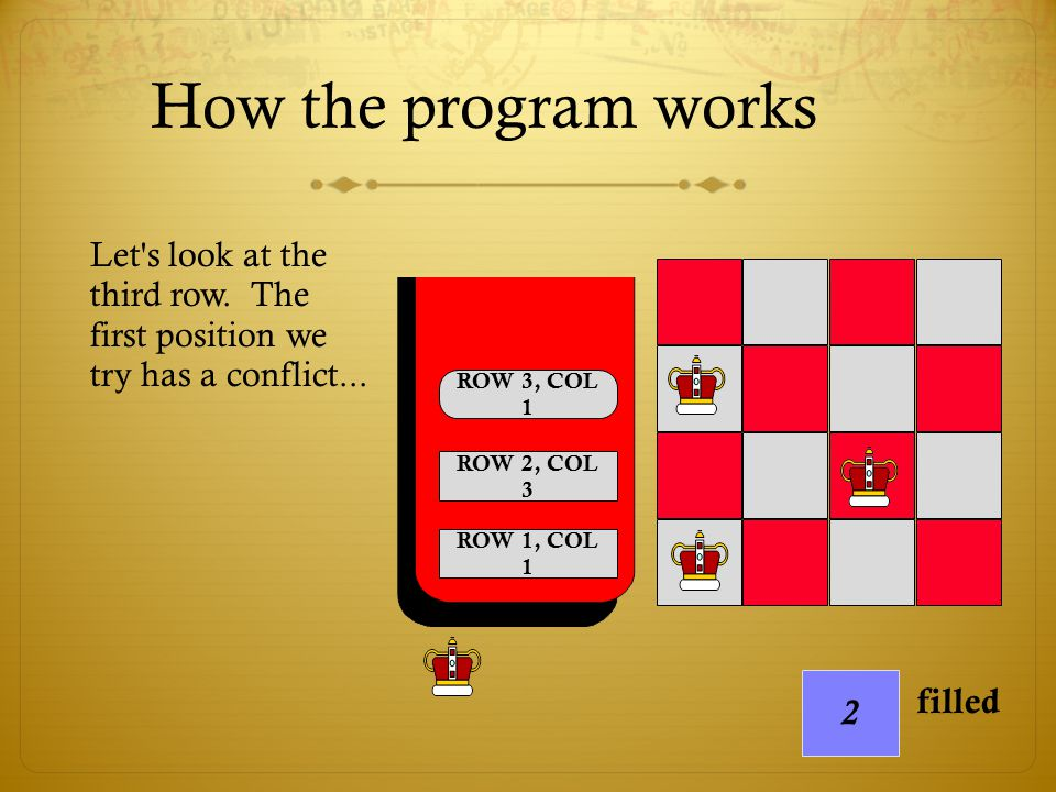 How the program works Let s look at the third row. The first position we try has a conflict...