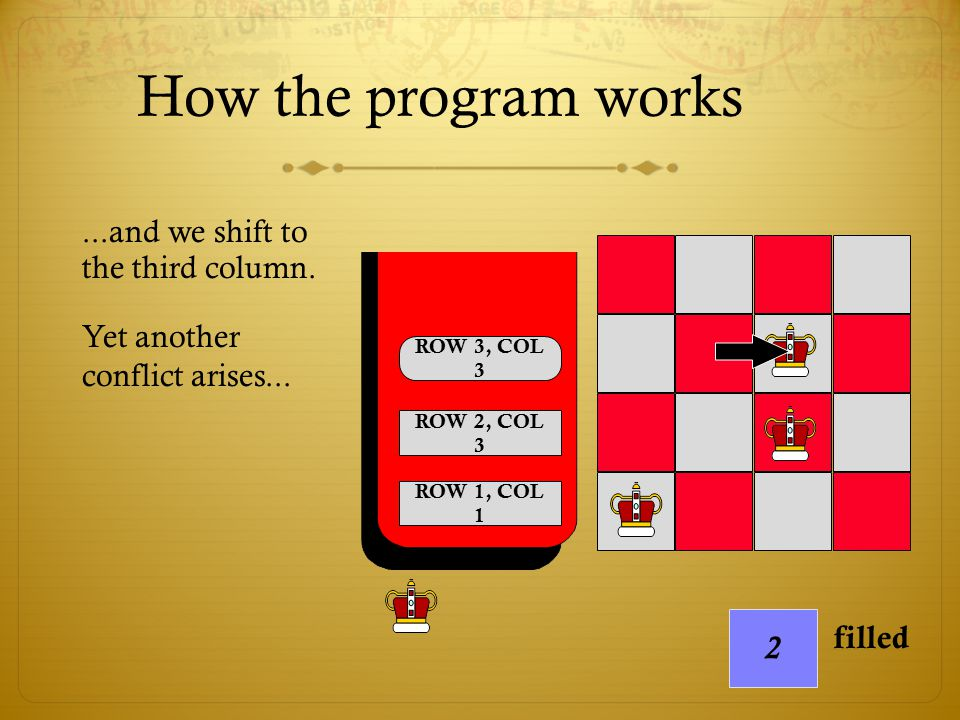 How the program works ...and we shift to the third column.