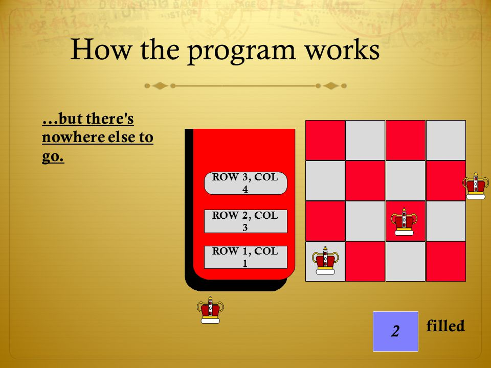 How the program works ...but there s nowhere else to go. 2 filled