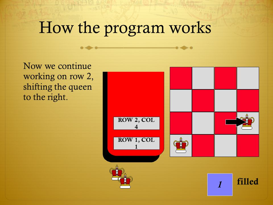 How the program works Now we continue working on row 2, shifting the queen to the right. ROW 2, COL 4.