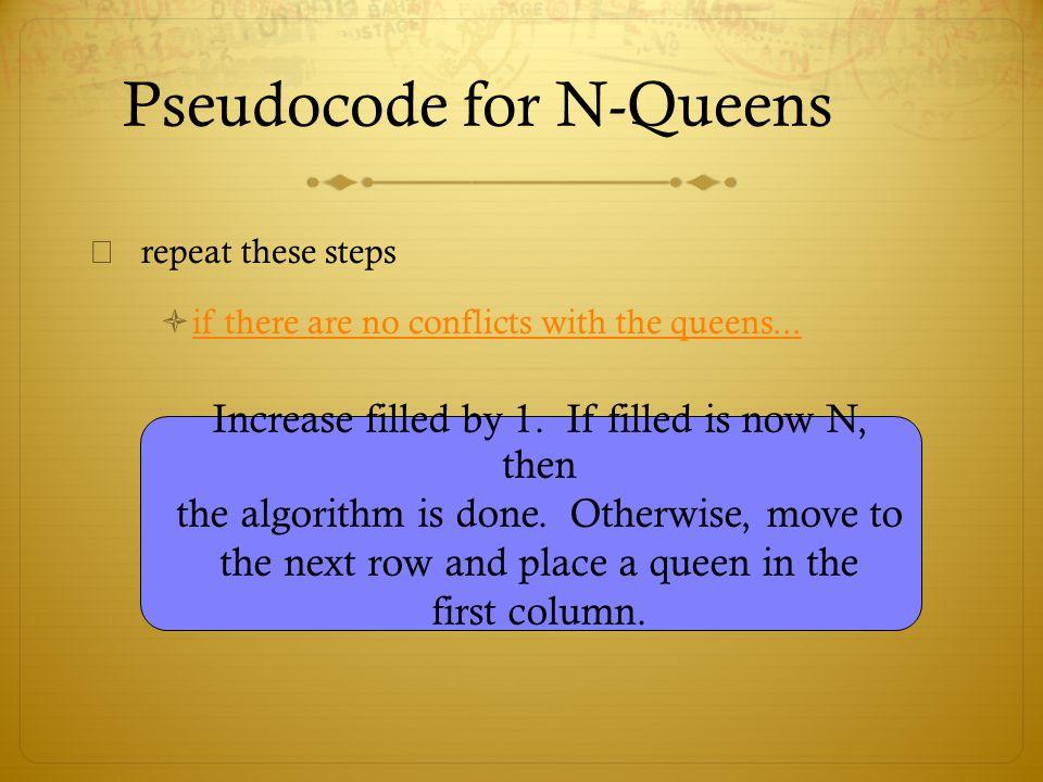 Pseudocode for N-Queens