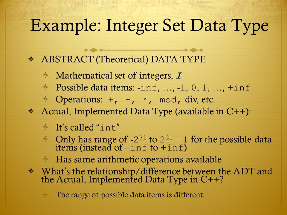 Example: Integer Set Data Type