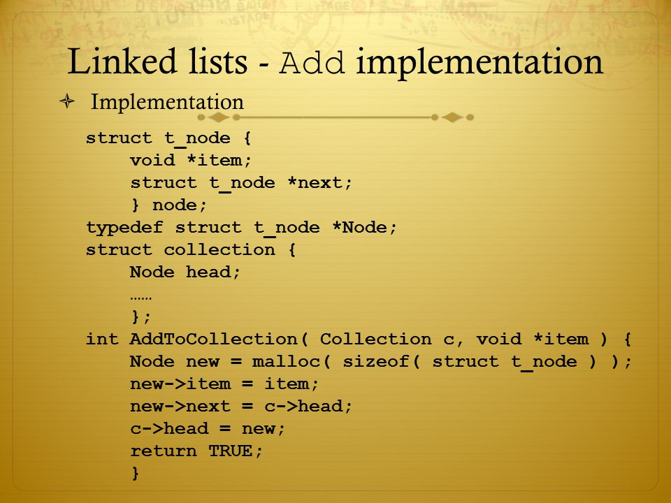 Linked lists - Add implementation