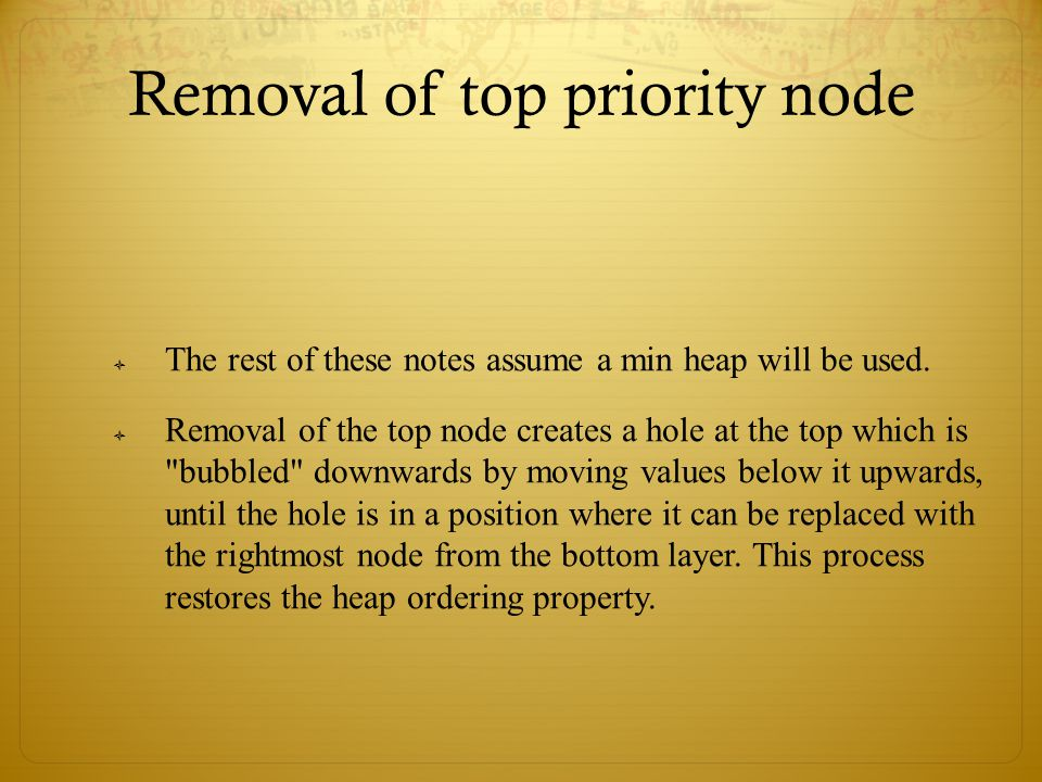 Removal of top priority node