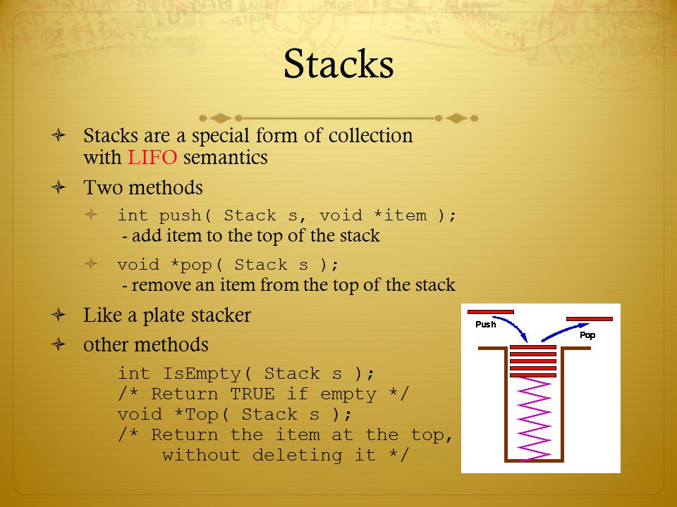 Stacks Stacks are a special form of collection with LIFO semantics