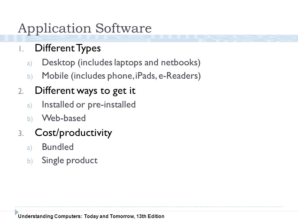 Application Software Different Types Different ways to get it