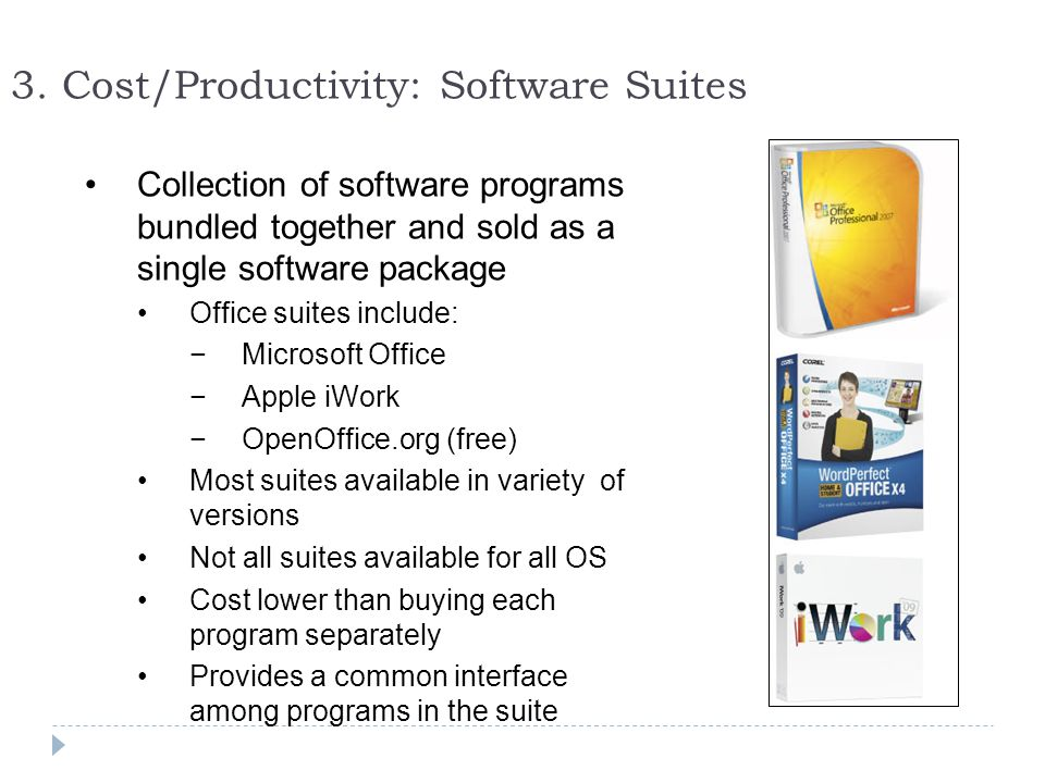 3. Cost/Productivity: Software Suites