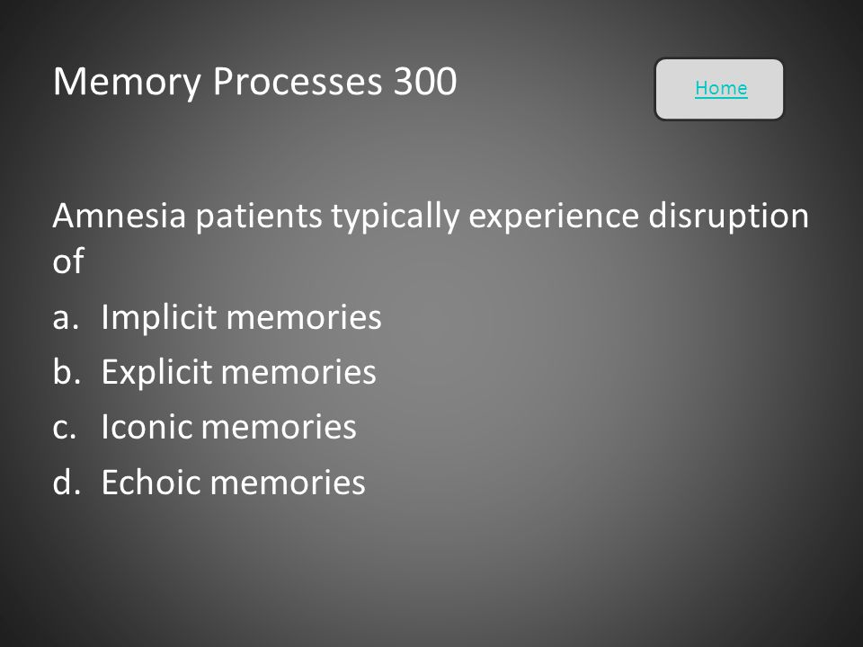 Memory Processes 300 Home. Amnesia patients typically experience disruption of. Implicit memories.