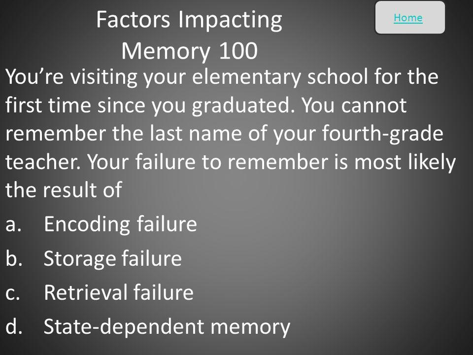 Factors Impacting Memory 100